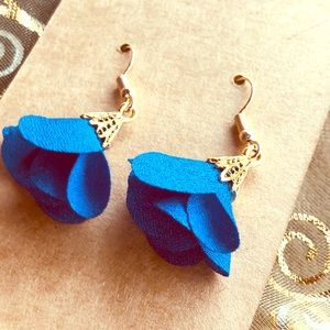 Blue and Gold Flowered Dangly Earrings